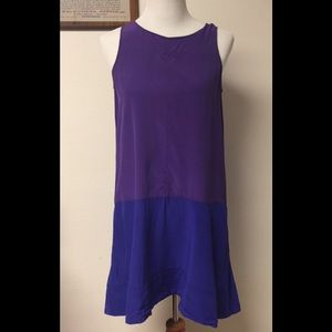 Club Monaco Dina Silk Colorblock Dress Sz 4